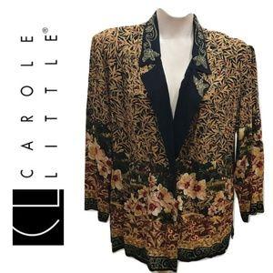 Carole Little Size 14 Blazer German Rayon Floral